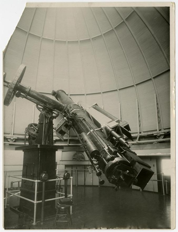 The 20-inch telescope with cameras and lenses attached. Set up for the January 24, 1925 total solar eclipse. Image from Wesleyan University, Vertical Files, Shared Shelf.
