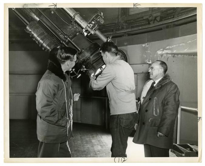 Carl Stearns (right); Robert T. Matthews, astronomy instructor; and a student. Image from Wesleyan University Vertical Files, Shared Shelf.