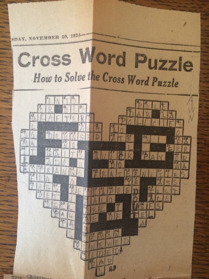 An almost-finished Cross Word Puzzle by Mildred Booth in the shape of a heart