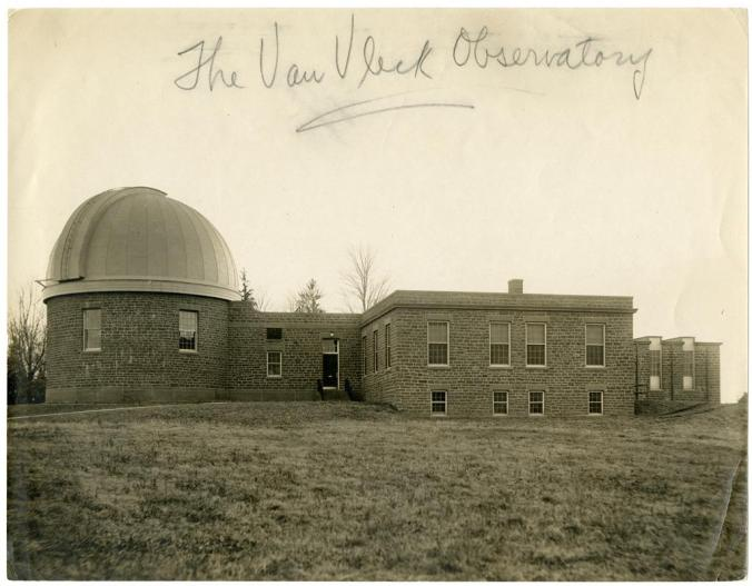 "The Van Vleck Observatory circa 1920, shortly after its completion. Vertical Files Photograph Collection Box 38, Folder ""Van Vleck Observatory -- Photos,"" Special Collections & Archives, Olin Library, Wesleyan University."